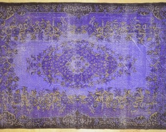 Rug Overdyed Vintage Lilac Medallion 6' x 9'