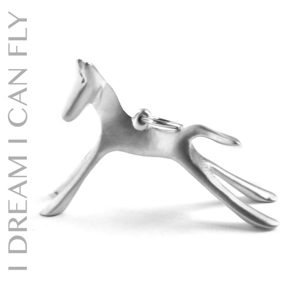 Silver Horse necklace - Horse pendant in brushed sterling silver
