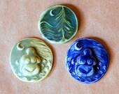3 Ceramic Mosaic tiles - Handmade Goddess Cabochones - Moon over Cedars tile