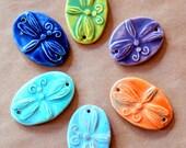 6 Ceramic Beads - 2 Holed Bracelet Beads - a Rainbow of Dragonfly Beads
