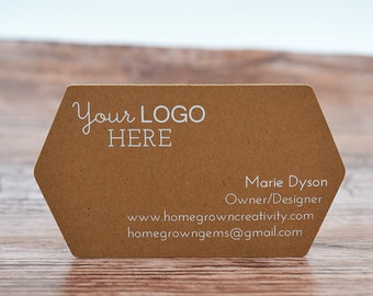 70 - WHITE PRINT - Business Cards Ornate Cut Pointed Sides - Customized with your Logo and Text | DS0124