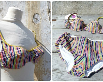 Vintage 1950/1960 bikini  seersucker multicolor swimsuit pin up  swimwear size S