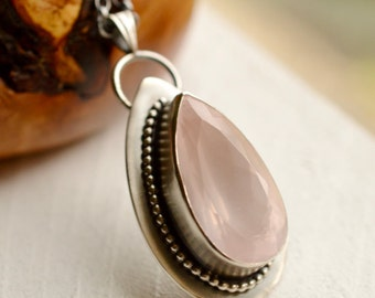 Rose Quartz Necklace Handmade in Silver, Faceted Gemstone Pendant, Stone Pendant, Modern Metalwork Jewelry, Handcrafted Boho Jewelry