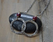 Ruby Double Ring Necklace in Sterling Silver