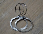 Rustic Oxidized Sterling Silver Hammered Hoop *Size Small*