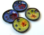 RESERVED FOR JETTY - Rustic Millefiori Poppy Circle Enamel Charms