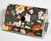 SALE Handmade Vinyl Accordion Wallet - Secret Garden / small wallet, gift, cute wallet, card case, vinyl wallet, women's wallet, floral