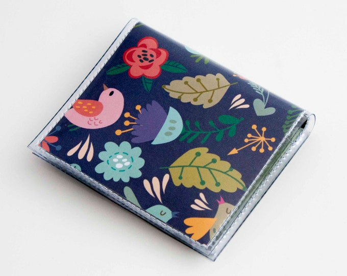 Handmade Vinyl Moo Square Card Holder - Gentle / case, vinyl, snap, wallet, paper, mini card case, moo case, square, birds, floral, purple