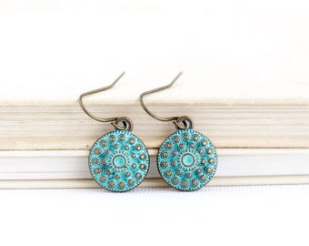 Boho Earrings - Ethnic Earrings - Tribal Earrings - Small Green Earrings - Patina Jewelry - Brass Earrings - Rustic Earrings