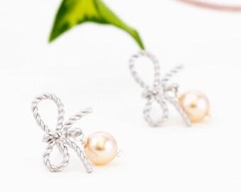 Blush Pearl Earrings - Silver Earrings - Wedding Earrings - Bridal Earrings - Silver Bow Earrings - Bridal Jewelry - Gift For Mom