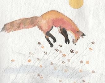 Low Winter Sun frolicking fox in snow
