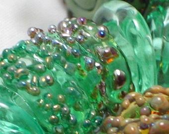 """Handmade Glass Lampwork disc disk Beads"""" Shades of Green"""" filler focal glass art"""