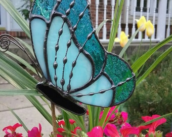 Two colors of Blue Stained Glass Butterfly Garden Stake, Plant Stake, Garden Decoration, Tiffany Butterfly