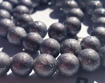 Dark grey Spray Painted Acrylic Beads 8mm (50)