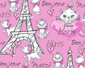 Disney Aristocats, Merci Paris, Maria In Paris on Pink, 1/2 Yard
