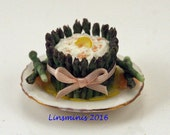 12th scale handmade miniature asparagus and salmon crown