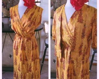 Vintage 1950s Dress and Jacket gold orange 2 piece print floral harvest 1960s M L