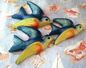 VERY RARE Vintage Antique Bluebirds In Flight Trio Wall Art Hanging Plaques Sculptures Collectible Wall Decor Set