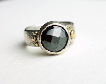 Faceted Hematite in Sterling Silver with 14k Asymmetric Pebbles