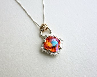 Sunrise Crystal Pendant in Sterling Silver