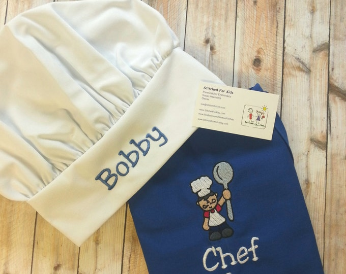 Kids Apron *and* Chef Hat Personalized, Chef Apron and Chef Hat, Play Kitchen Apron, Child Apron and Hat, Child Chef Hat and Apron
