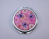 Polymer Clay Embellished Compact Purse Mirror,Pink Millefiori Floral