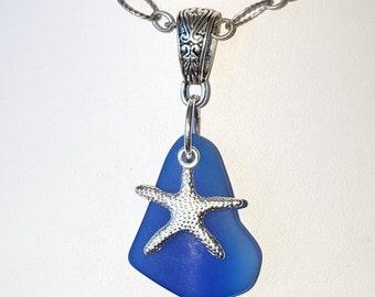 Cobalt Blue Sea Glass Pendant Sea Glass Necklace Sea Glass Jewelry N-372