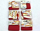 Set of Handmade Square Art Pendants For Earrings Or Small Necklace Focal Polymer Clay Stripes on White OOAK