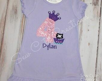 Pirate Princess Birthday Dress, Girl Pirate Birthday Dress, Princess Birthday dress, Girl Birthday dress, sew cute creations