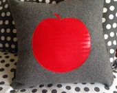 Red Apple Pillow Cover, Grey Wool Cushion Cover, Christmas Gift, Nursery Decor, Kids Bedroom Decor, Kids Vintage Pillow Cover, 45x45cm