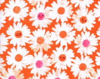 Happy Garden Double Gauze fabric in Tangerine by Melody Miller