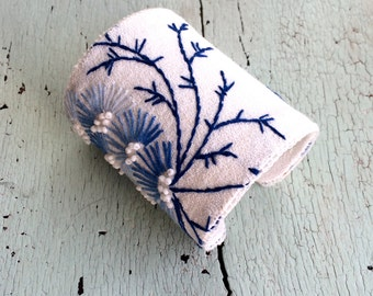 Blue and White Embroidered and Beaded Adjustable Cuff