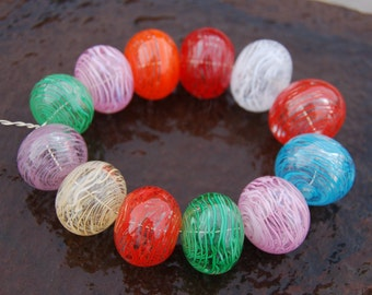 Colorful Happy & Fun....12 Hollow Filligrana Lampwork Beads...K O Lampwork