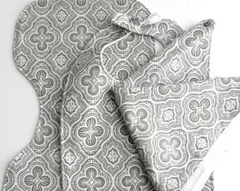 Gray & White Cathedral Print Bib Burp Bandana Set