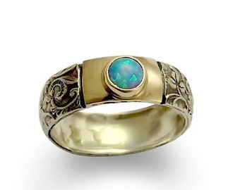 Sterling Silver Ring, Silver Gold Ring, Yellow Gold Ring, Silver Filigree Ring,  Opal Ring, Mixed Metals Band, Opal Ring - Blue spirit R1627