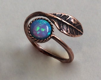 Twig ring, opal ring, Dainty ring, leaf ring, Bronze ring, adjustable ring, stacking ring, bronze ring, nature - Gone with the wind RC2062-1