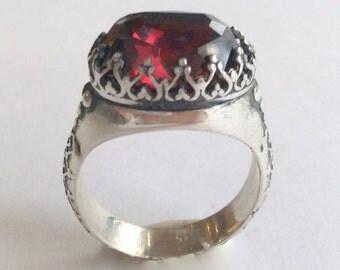 Silver Ring, Garnet gemstone Ring, Red Stone Ring, high crown Ring, Garnet Ring, oxidized silver ring, engagement ring - I believe. R2052
