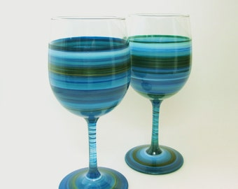 Pair Hand Painted Wine Glasses Shades of Blue - Deep Sea Treasures- Original Home Decor-