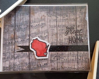 Handmade Card Milwaukee Wisconsin Music  - feels great to be home Card - Hand stamped No place like home #5