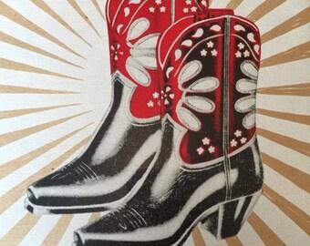 Vintage COWBOY BOOTS PEEWEE poster cowgirl print hand printed letterpress western wear acme