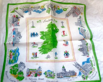 Map of Ireland Souvenir Hankie - Vintage Linen Handkerchief - Notable Scenic Spots and Architectural Highlights