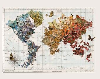 Vintage Map Art, Small Butterfly Migration, Butterflies World Map Art