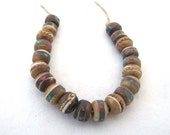 Brown Olive Yak Bone Tibetan Mala Beads Inlaid with Coral Turquoise and Brass  and Copper Set of 20