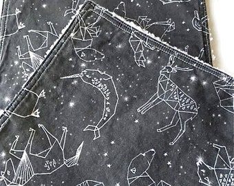 Modern Baby Burp Cloth Charcoal Gray Constellations  Night Time Stars Sky by Andrea Lauren Cotton Chenille Baby Shower Gift Gender Neutral