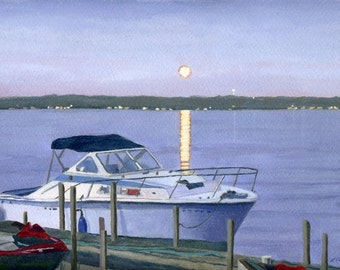 Dusky Blue Moon on the water Boat dock Giclee Reproduction 8.5 x 13