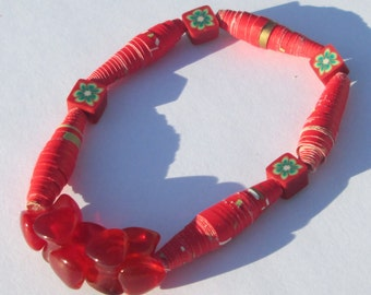 RED agate, paper, and polymer clay bead stretch bracelet in red sunshine beads affordable unique by Ziporgiabella