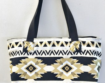 My Perfect Little Purse in gold and black printed cotton duck