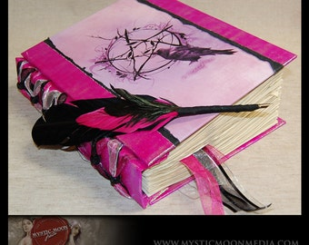 Iridescent Pink and Midnight ... Wooded Pentagram with Crow... XL Book of Shadows with Beads...XL Journal and Quill Pen...Refillable