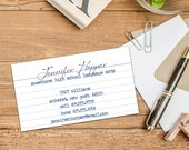 Lined Paper Calling Cards/Business Cards, Set of 50 or 100 Calling Cards, Custom Business Cards, Personalized Calling Cards, Fun Lined Paper