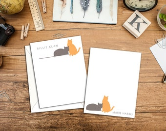 Kitty Cat Personalized Flat Notecards (Set of 10)